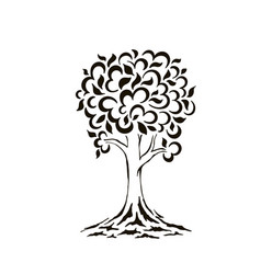 tree silhouette swirls cartoon funny tree vector image
