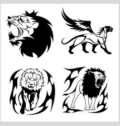 tribal lions set of black and white vector image vector image