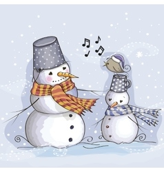 Two Snowman and bird vector