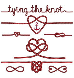 Tying the knot rope hearts set vector