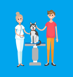 veterinarian doctor patient with dog pet clinic vector image