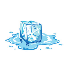 Water ice cube icon frozen melting particle vector