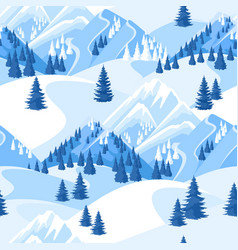 Winter seamless pattern beautiful landscape with vector