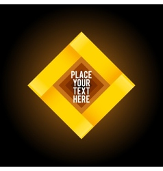 Yellow square shape on dark background vector image