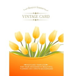 Yellow tulip spring flowers bouquet for your vector image