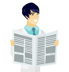 Young asian doctor reading newspaper vector