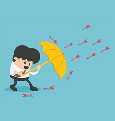 Young businessman use umbrella to protecting vector