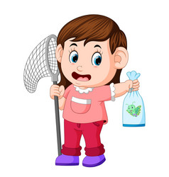 Young girl with butterfly net vector