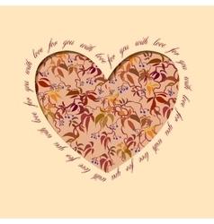 Autumn grapevine heart design floral love card vector
