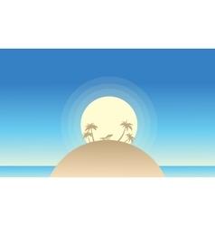 Beautiful island landscape of silhouette vector