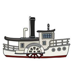 funny old white paddle steamboat vector image vector image