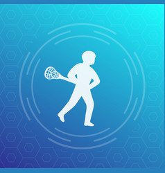 lacrosse player icon vector image