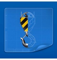 Lifting hook drawing blueprint vector image