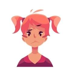 Teen girl face upset confused facial expression vector image vector image
