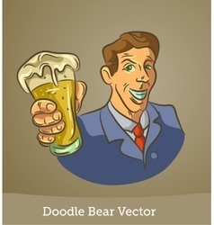 doodle man with a beer isolated on brown vector image vector image