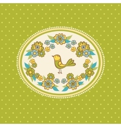 Floral frame with bird vector image