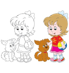 Girl and pup vector image