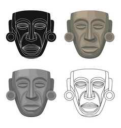 mayan mask icon in cartoon style isolated on white vector image