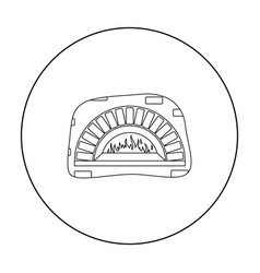 wood-fired oven icon in outline style isolated on vector image vector image