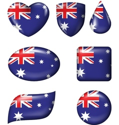 Australian Flag in various shape glossy button vector image vector image