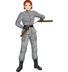 Caucasian Nunchuck girl in military uniform vector image vector image