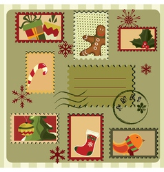 christmas card with stamps vector image vector image