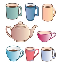 cups and teapot vector image vector image