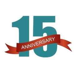 Fifteen 15 Years Anniversary Label Sign for your vector image