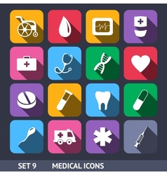 Medical Icons With Long Shadow vector image
