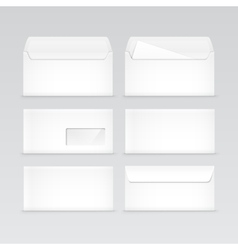 Set of White Blank Envelopes Isolated vector image vector image