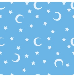 Blue moon and stars sky print seamless pattern vector image