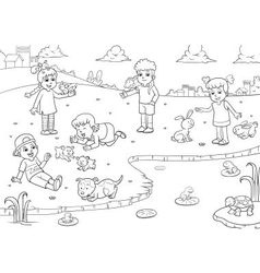 child and animal for coloring vector image vector image