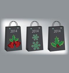 Christmas shopping bags vector image vector image