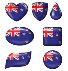 New Zealand Flag in various shape glossy butto vector image