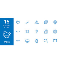 15 table icons vector