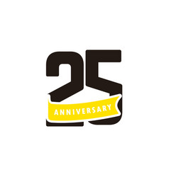 25 years anniversary number with yellow ribbon vector