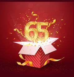 65 th years number anniversary and open gift box vector