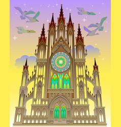 a fairyland fantasy gothic castle cartoon image vector image