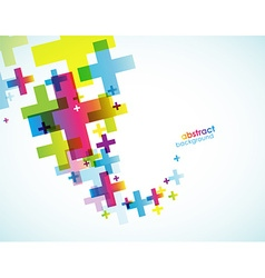 Abstract colored plus signs vector image