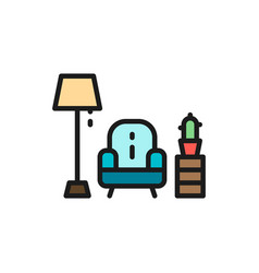 armchair with lamp flat color line icon vector image