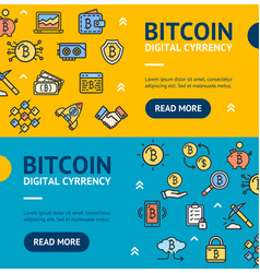bitcoin digital currency banner horizontal set vector image