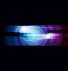 blue purple hud gear technology banner design vector image