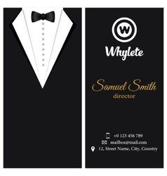 business card Black tuxado vector image