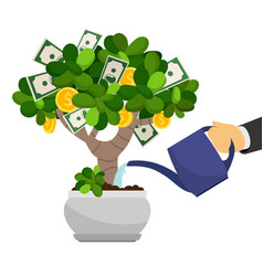 businessman hand waterng money tree vector image