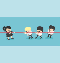 businesswoman and businessman tug war rivalry vector image
