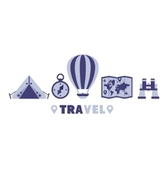 Camping Travel Symbols Set By Five In Line vector image