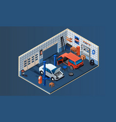 car service garage interior banner isometric vector image