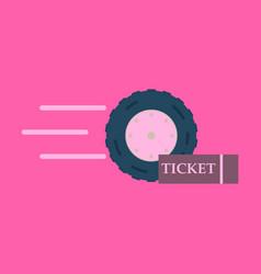Car wheel icon with ticket vector