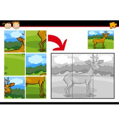 Cartoon deer jigsaw puzzle game vector