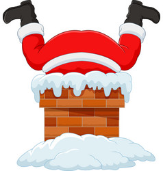 Cartoon santa claus stuck in chimney vector